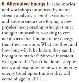 Gerald Celente predicts new energy tech for 2011