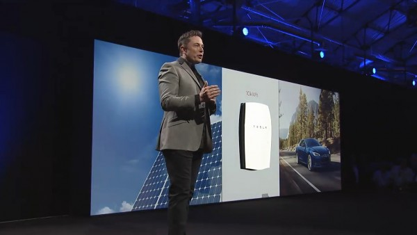 Elon Musk presenting the new Powerwall home battery.